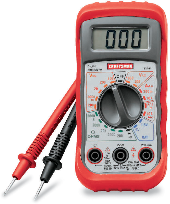 Digital multimeter with 8 functions and 20 ranges
