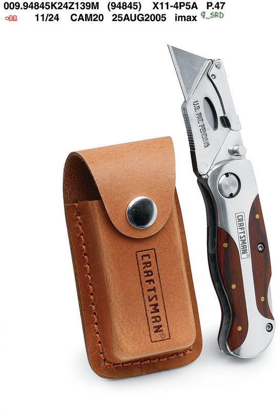 Lock back utility knife with leather belt pouch