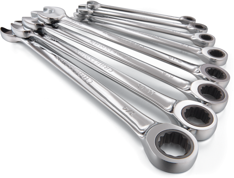 8-pc. flat full polish ratcheting wrench set, inch