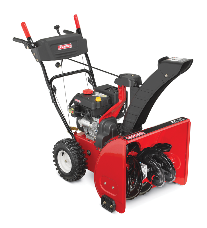 24-in. clearing path 208cc engine Two stage with electric start EZ rotational extended chute