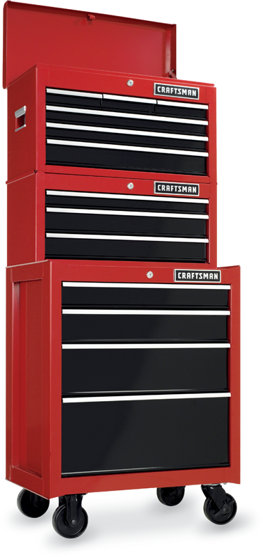 26-in. 13-drawer heavy-duty ball-bearing tool storage combo