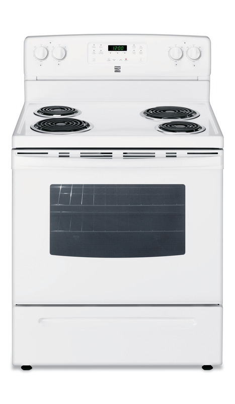 Kenmore Electric range with storage drawer and clock