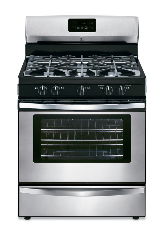 5-burner gas range with full width grates