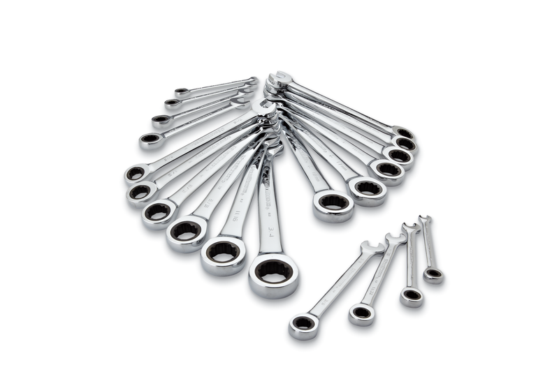 20-pc. ratcheting wrench set, inch and metric