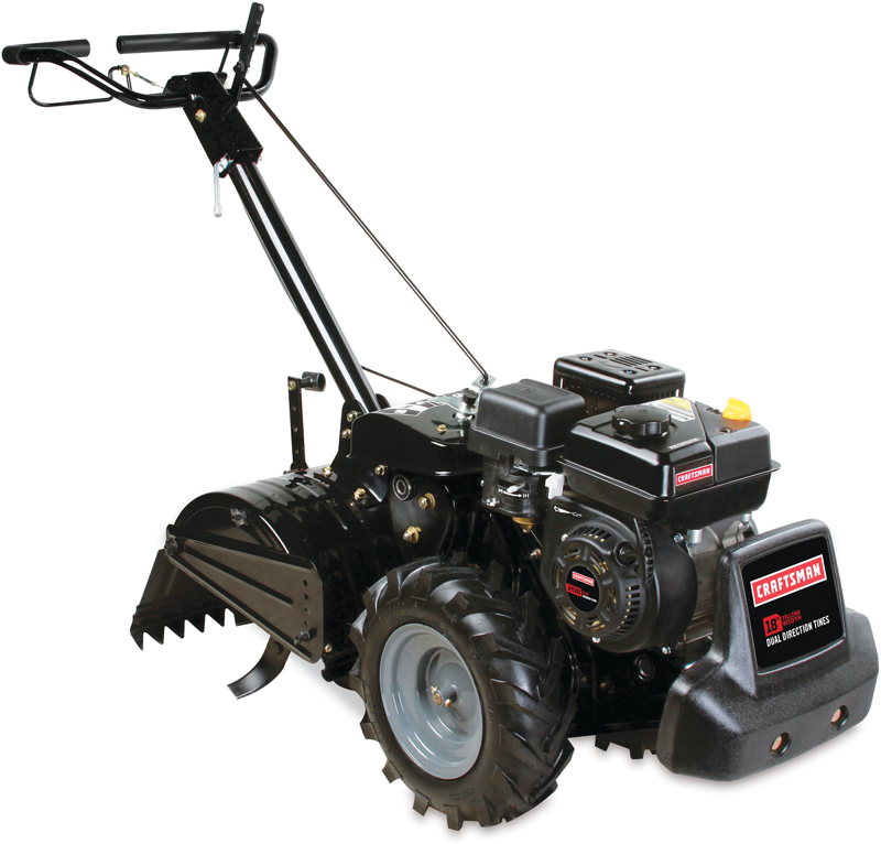 Craftsman 208cc OHV engine dual rotating rear tine tiller with 18-in. till path