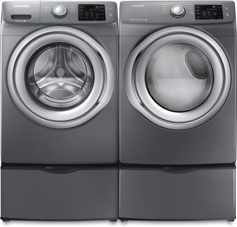 Samsung 4.2 cu. ft. capacity front load steam washer and 7.5 cu. ft. capacity electric dryer with steam