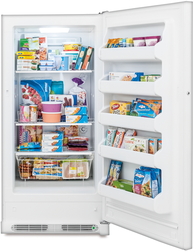 13.8-cu. ft. capacity upright with full-width shelving and bottom basket