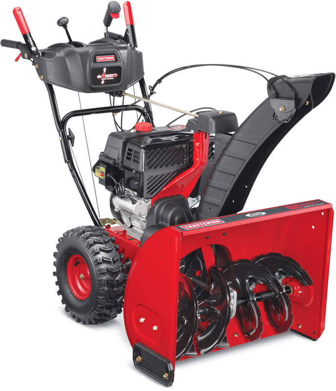 Craftsman Two stage zero turn with electric start 26-in. clearing path 208 Cc quiet engine Extended chute with 4-way joystick control