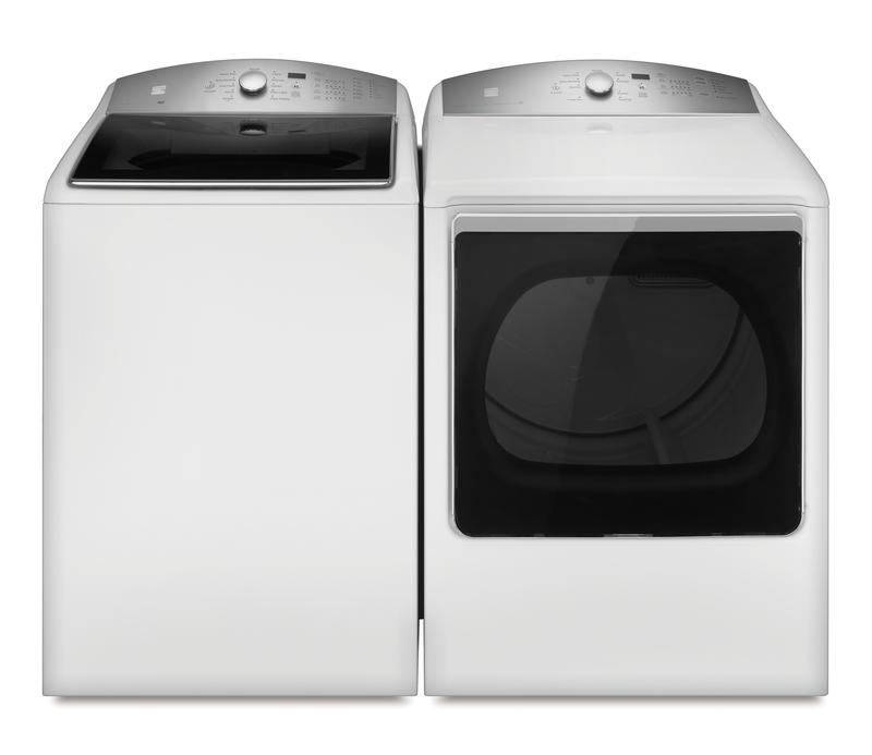 Kenmore 5.3-cu. ft. capacity top load high efficiency washer and 8.8-cu. ft. capacity electric dryer