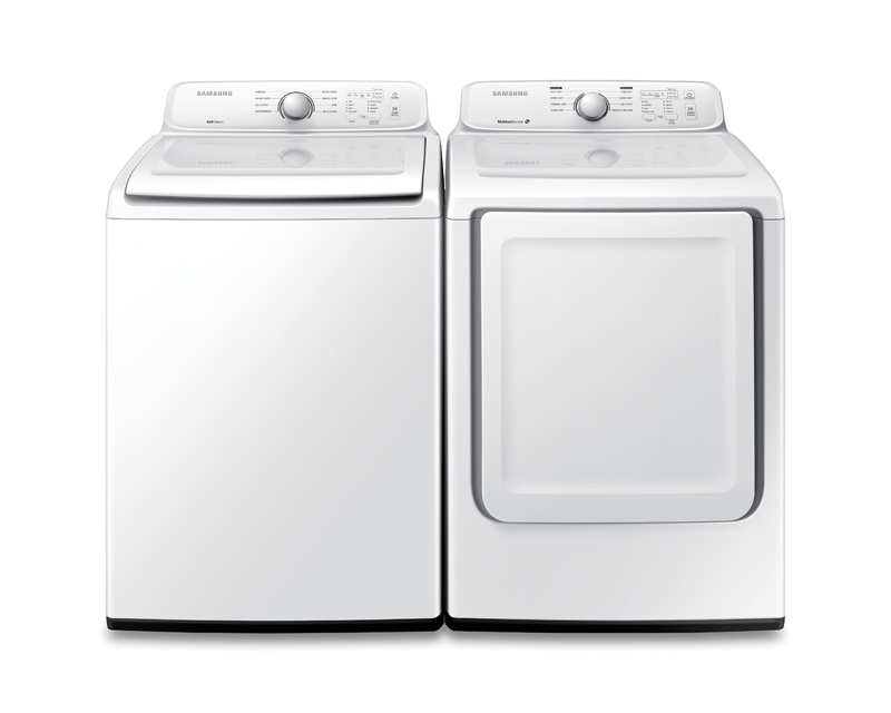 Samsung 4.0 cu. ft. capacity high efficiency top load washer and 7.2 cu. ft. capacity electric dryer
