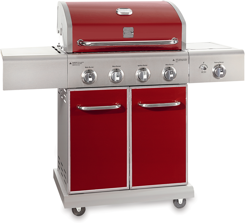 Red 4-burner gas grill with searing side burner