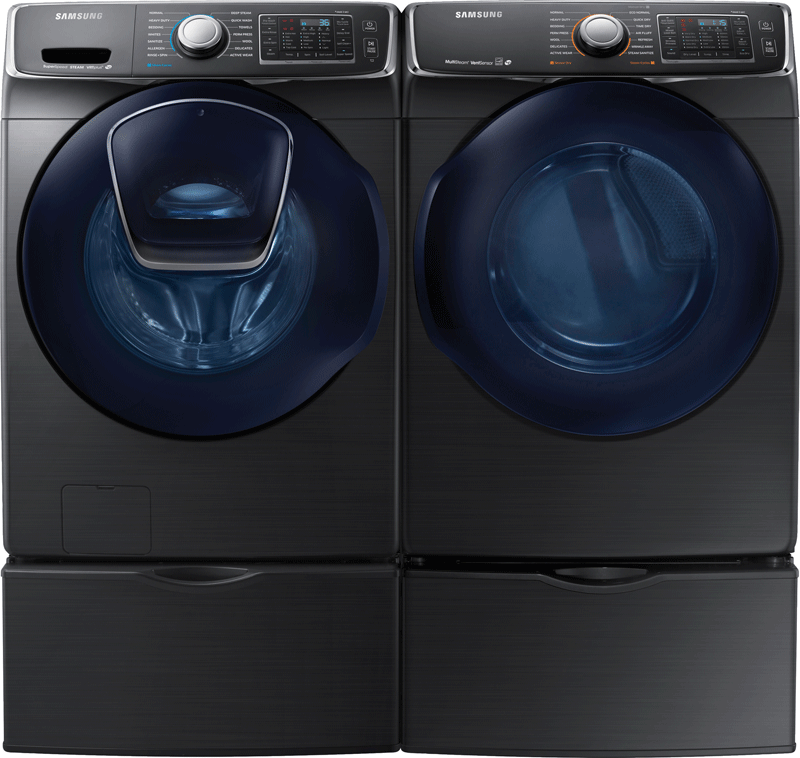 Samsung 4.5 cu. ft. capacity front load steam washer and 7.5 cu. ft. capacity front load electric steam dryer