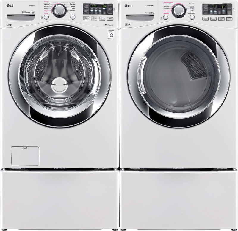 LG 4.5 cu. ft. capacity front load steam washer and 7.4 cu. ft. capacity front load electric steam dryer