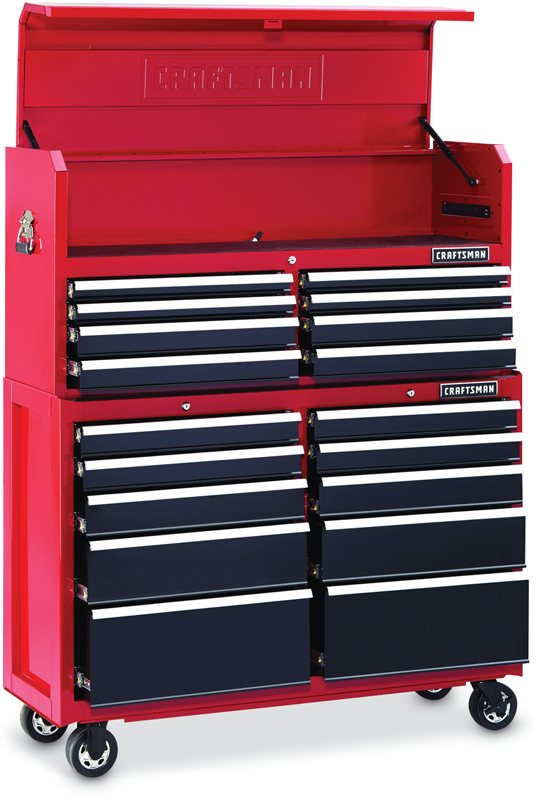 52-in. wide 18-drawer soft close tool storage combo Also available in black: