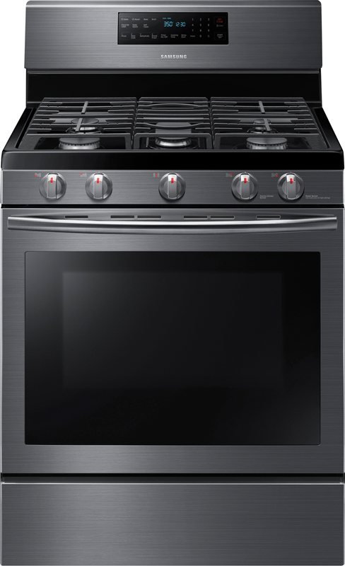 Samsung 5.8-cu. ft. black stainless convection gas range with fifth oval element and stovetop griddle