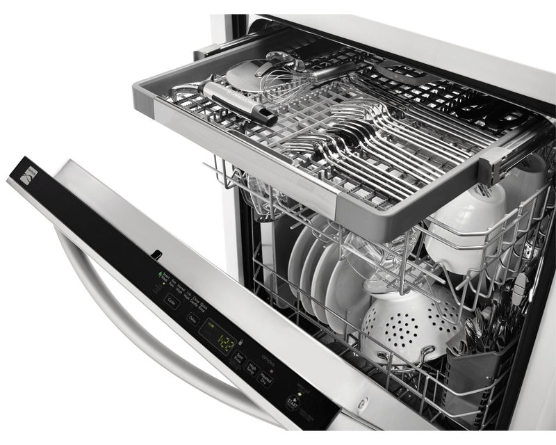 Dishwasher with stainless steel tub and removable third rack