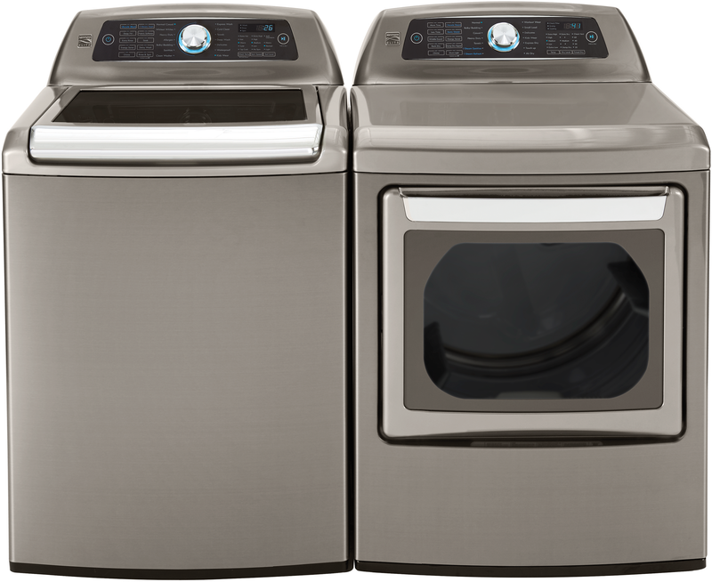 Kenmore Elite 5.2-cu. ft. top load washer with Steam Treat® and AccelaWash® and 7.3-cu. ft. electric dryer with dual-opening door