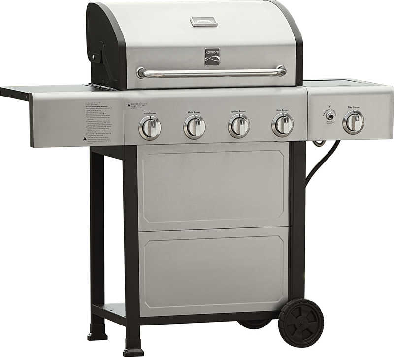 4-burner gas grill with side burner