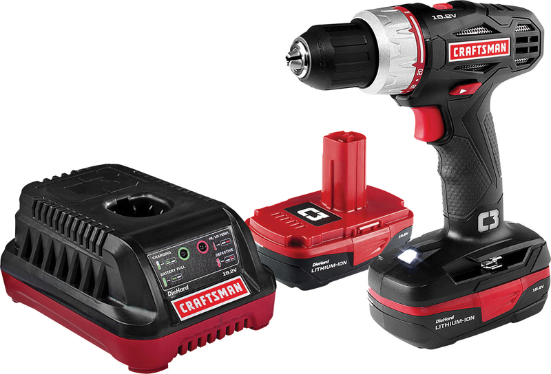 Craftsman C3 drill/driver with 2 batteries and bag included