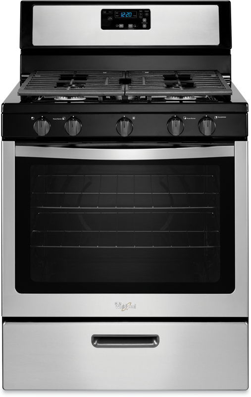 5.1 cu. ft. capacity gas range with speedheat Power Burner and spill-guard cooktop