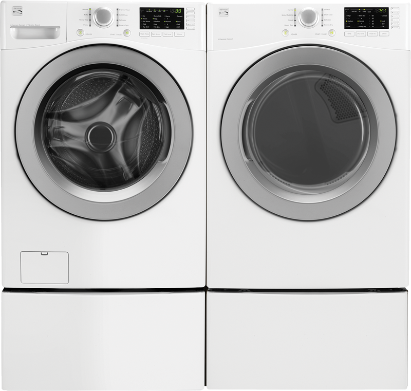 4.5 cu. ft. capacity with Smart Motion, combining unique wash motions for the ultimate wash and 7.4 cu. ft. capacity electric with Express Dry and Wrinkle Guard
