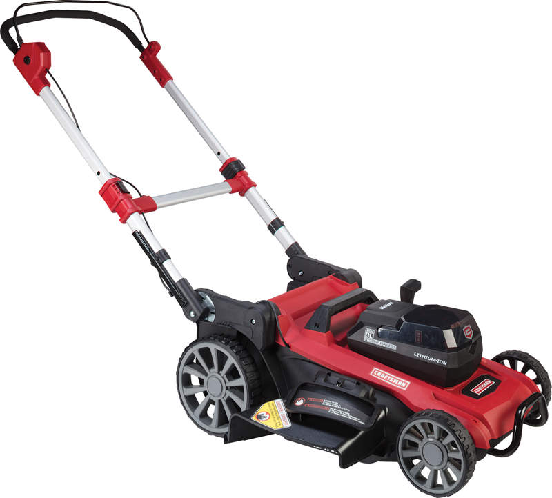 Craftsman 60-volt cordless lawn mower with 19-in deck, lithium ion battery and charger