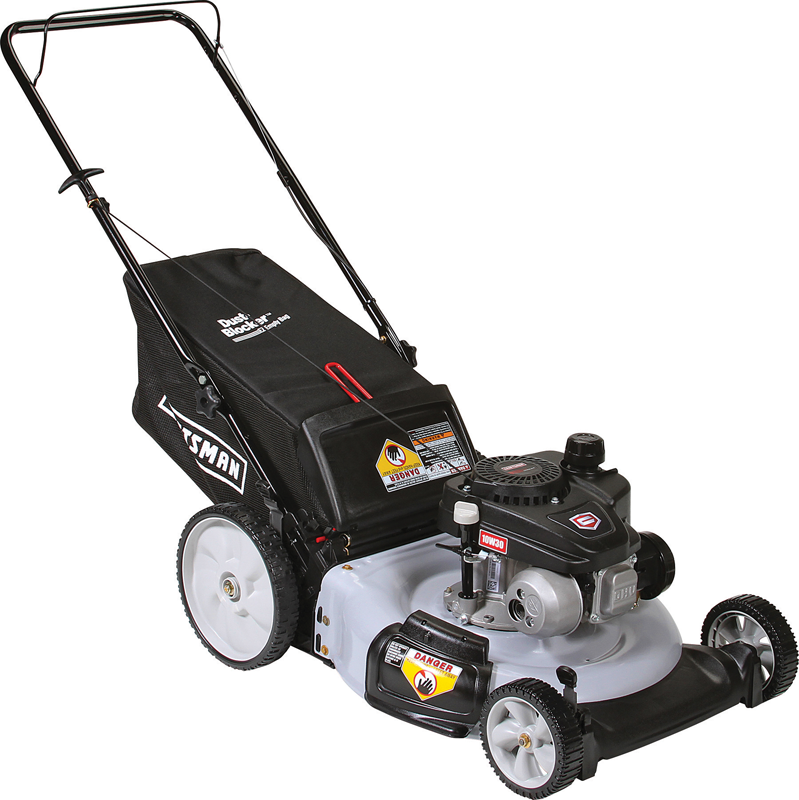 140cc Craftsman OHV engine Rear bag push mower High rear wheels Side discharge, mulch and bag