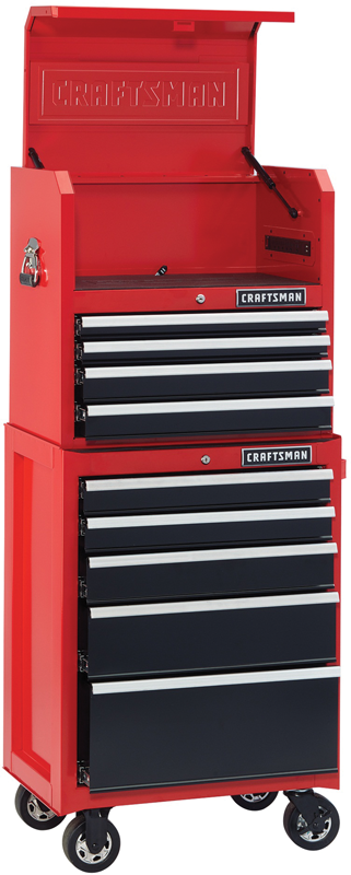 26-in. 9-drawer open till tool storage combo