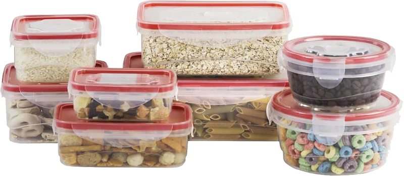 16-pc. plastic containers with locking seal clear lids