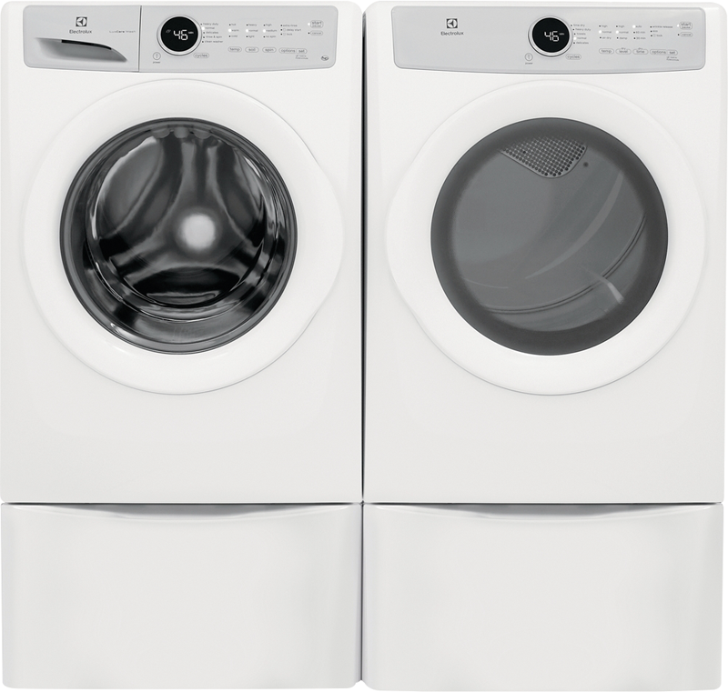 4.3 cu. ft. front load washer with LuxCare wash and 8.0 cu. ft. front load electric dryer with 5 cycles