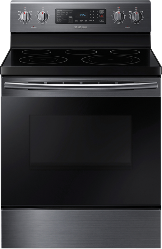 5.9 cu. ft. capacity electric with 5 burners and a hidden bake heating element