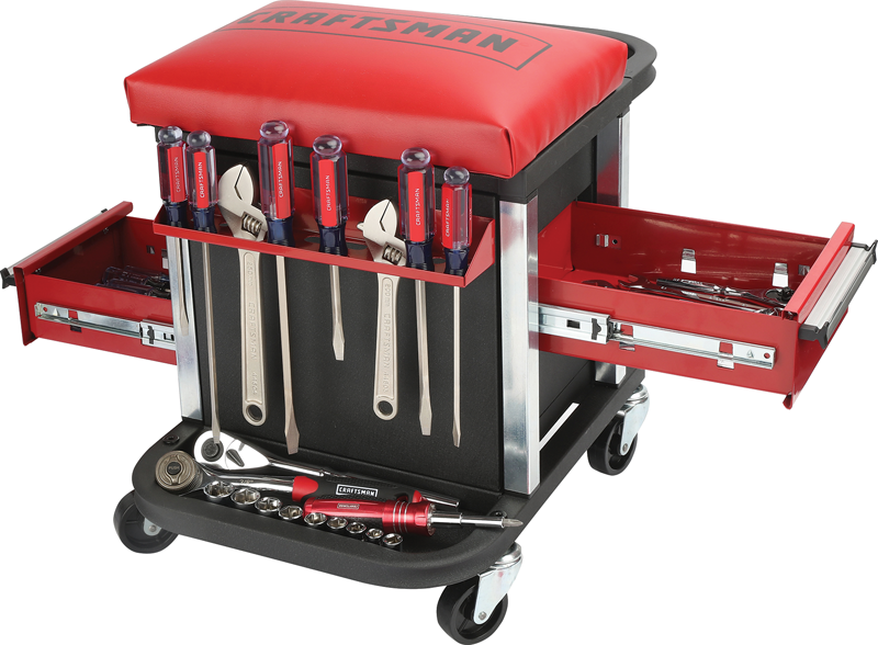 2-drawer tool storage mechanic's seat