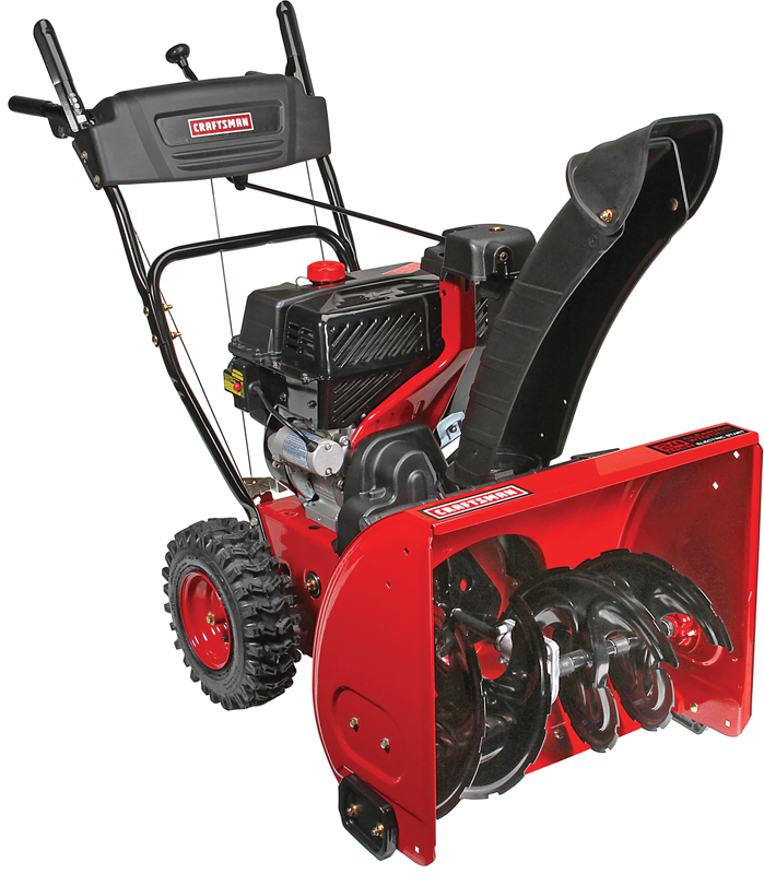 Two stage with electric start 24-in clearing path 208cc quiet engine EZ rotational chute control