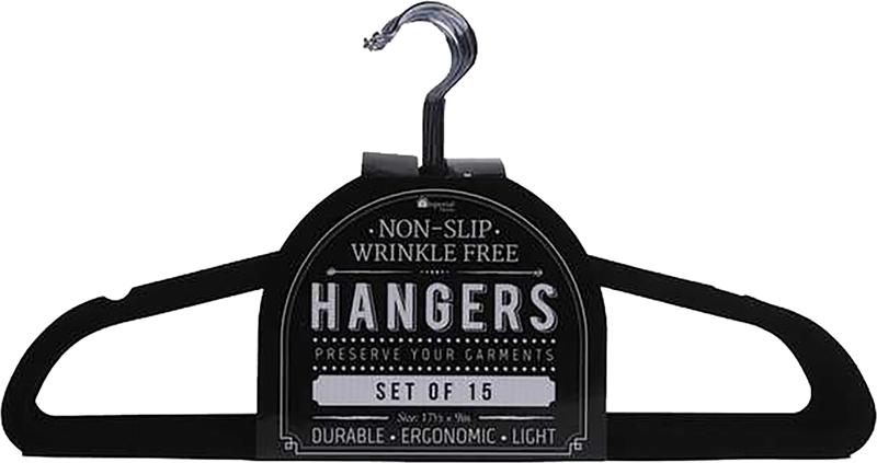 15 Pack Black Velvet Hangers 65 GSM