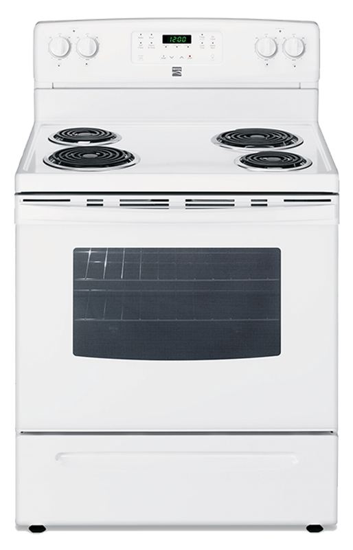 Kenmore 5.3 cu. ft. electric range with storage drawer and clock