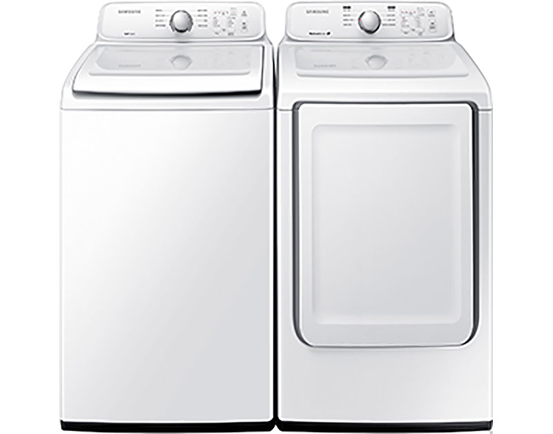 4.5 cu. ft. capacity with 5 water level options and 8 preset wash cycles and 7.2 cu. ft. electric with Sensor Dry and lint filter indicator