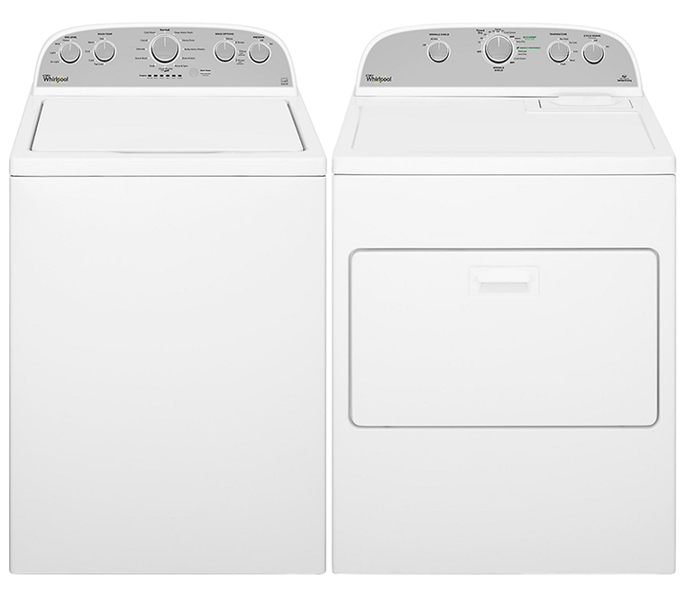 4.3 cu. ft. capacity with stainless steel tub and pre-soak option and  7.0 cu. ft. capacity electric with Accu-Dry and WrinkleShield plus technology