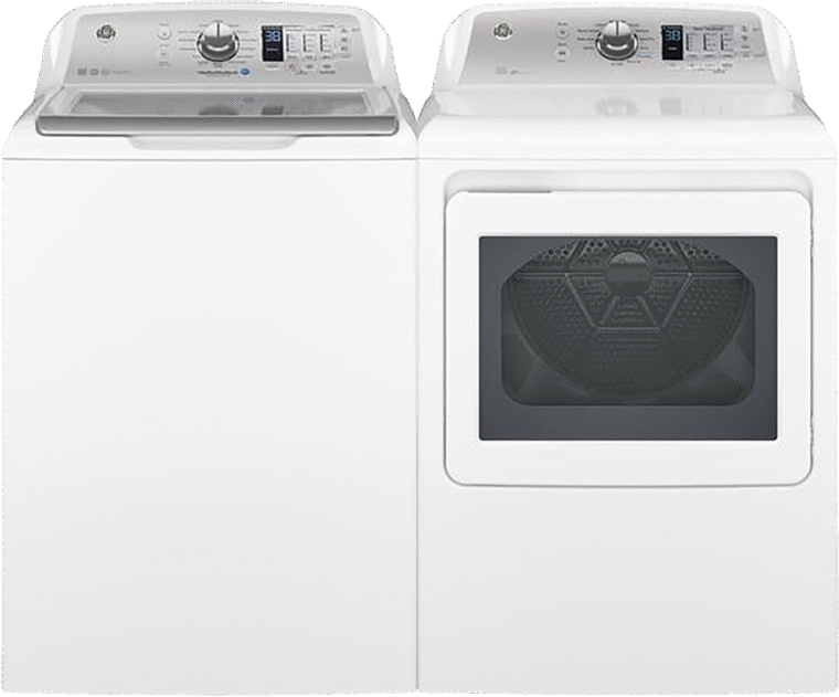 4.5 cu. ft. capacity top load washer with stainless steel basket and 7.4 cu. ft. capacity aluminized alloy drum electric dryer with HE Sensor