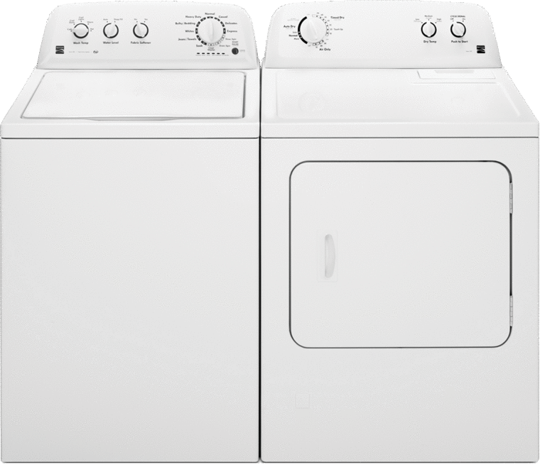 Kenmore 7.0 cu. ft. capacity with Wrinkle Guard and Smartdry feature and 3.8 cu. ft. capacity with triple action agitator and stainless steel basket