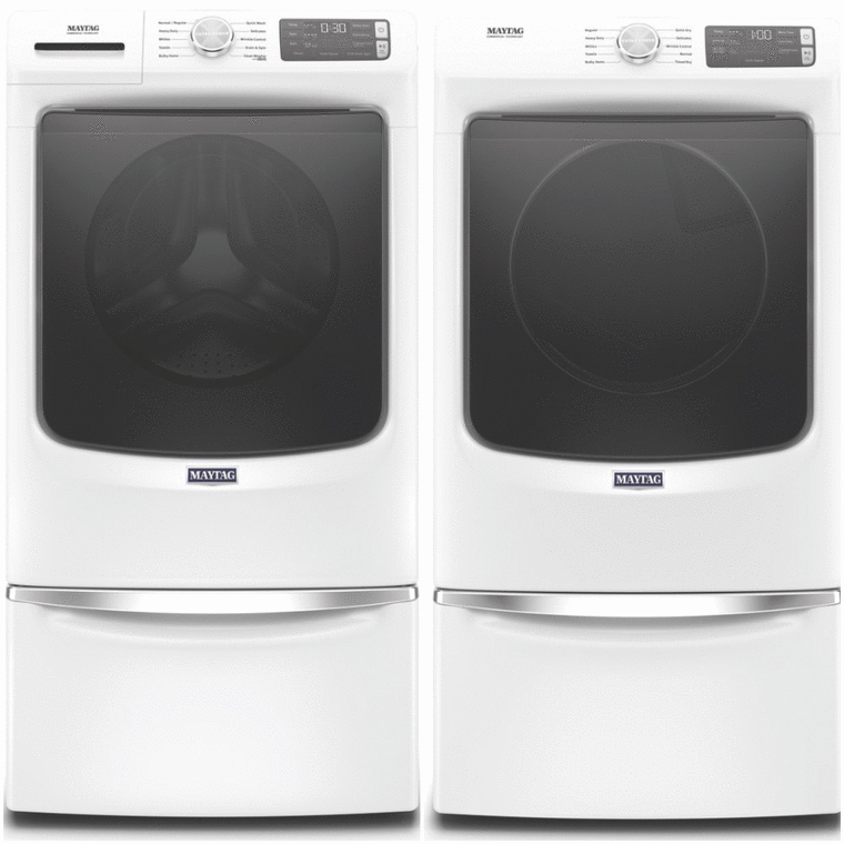 Maytag 4.5 cu. ft. capacity washer with Extra Power button and 12 Hr Fresh Spin™ option and 7.3 cu. ft. capacity electric dryer with advanced moisture sensing and quick dry cycle
