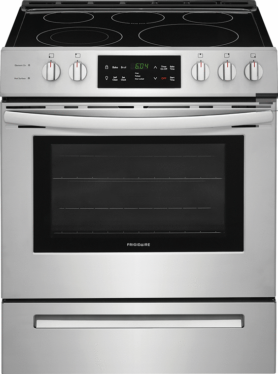 Frigidaire 5.0 cu. ft. capacity electric range with a Quick Boil element and Keep Warm Zone