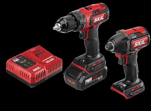 Skill 20-volt brushless drill/driver & impact driver kit