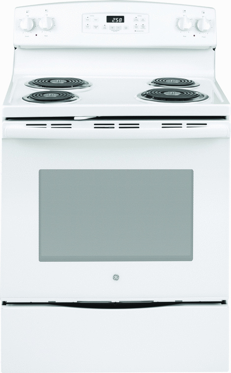 GE Appliance 5.3 cu. ft. capacity electric range with with Sensi-Temp technology, dual element bake and self clean option