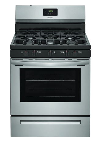 Frigidaire 5.0 cu. ft. capacity gas range with Quick Boil burner, oval center burner and Even Baking Technology