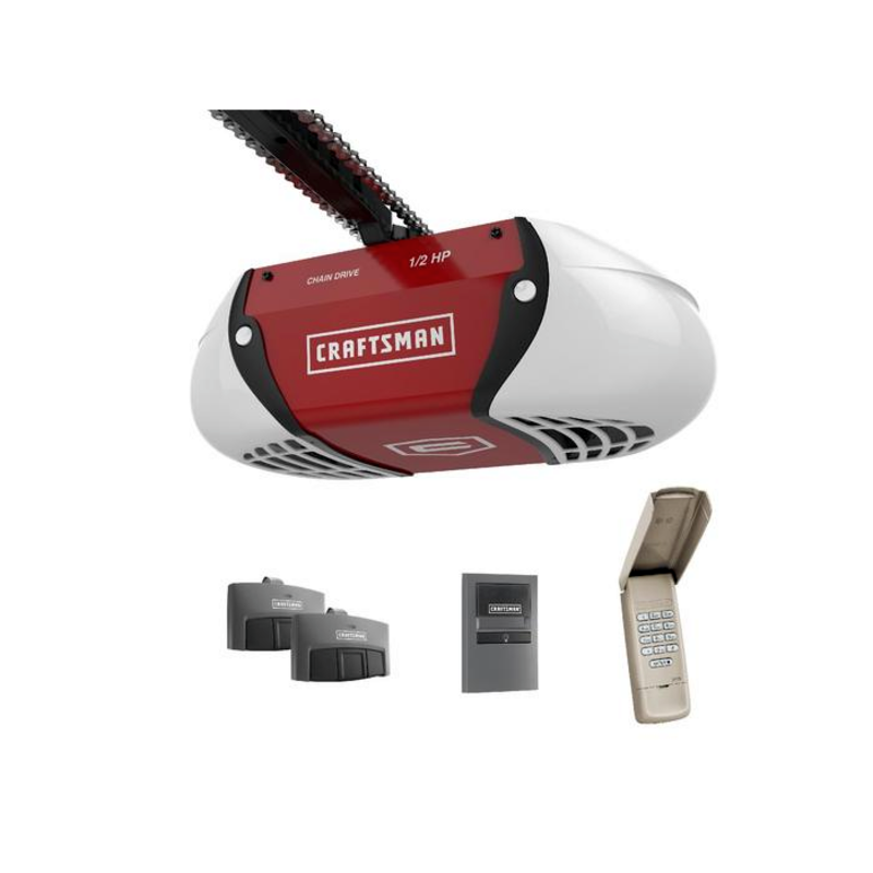 Craftsman 1/2-HP chain-drive garage door opener with two 3 function remotes and key pad