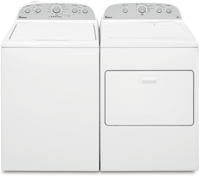 Whirlpool 7.0 cu. ft.capacity electric with Accu-Dry and WrinkleShield Plus technology and 4.3 Cu. ft.capacity with staInless steel tub and pre-soak option