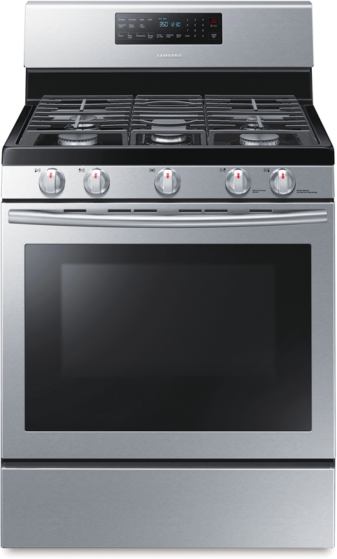 Samsung 5.8 cu. ft. capacity gas with 15,000 BTU oval element includes griddle