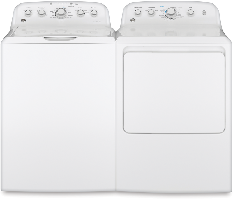 4.2 cu. ft. capacity top load washer with stainless steel basket and 7.2 cu. ft. capacity with 4 heat selections, auto dry and wrinkle care extended tumble