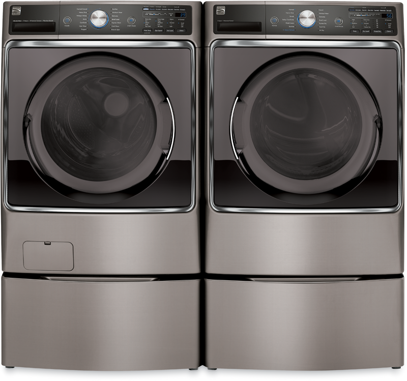 5.2 cu. ft. capacity with Steam Treat and Accela Wash for a deeper clean and 9.0 cu. ft. capacity electric with Steam Fresh to help reduce wrinkles