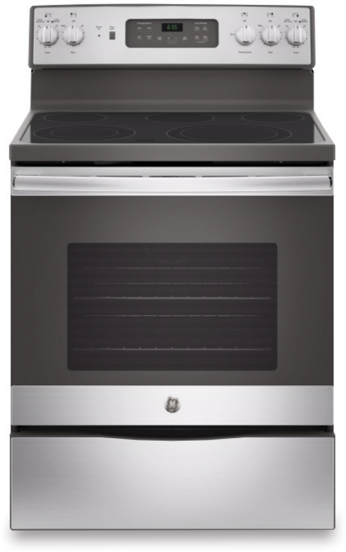 GE Appliance 5.3 cu. ft. capacity electric range with Power Boil element and 5 Th element warming zone